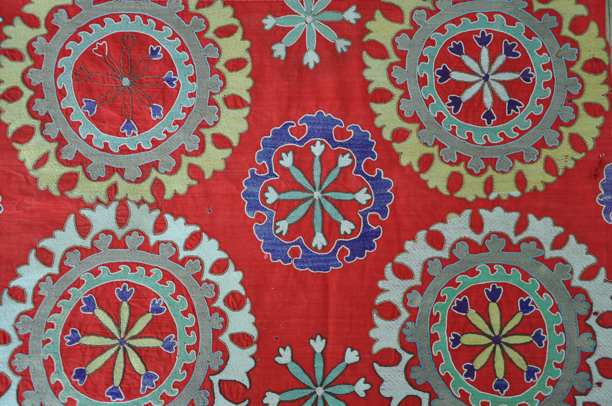 Red Embroidered Suzani Embroidered Quilt