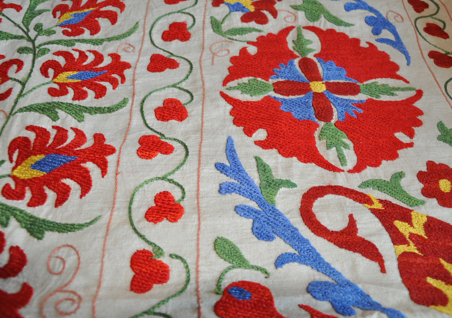 Red Blue Floral Suzani Embroidered Quilt