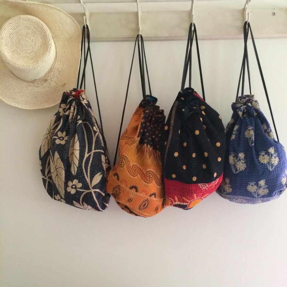 Yesness Kantha Drawstring Backpacks