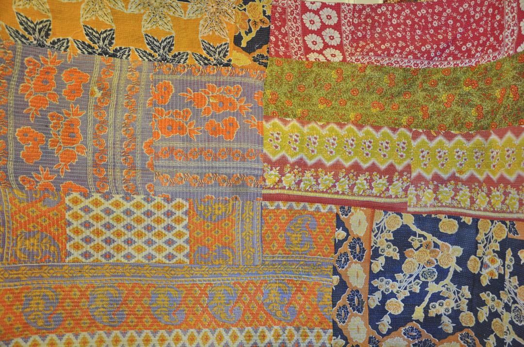 Mixed Print Kantha Quilt