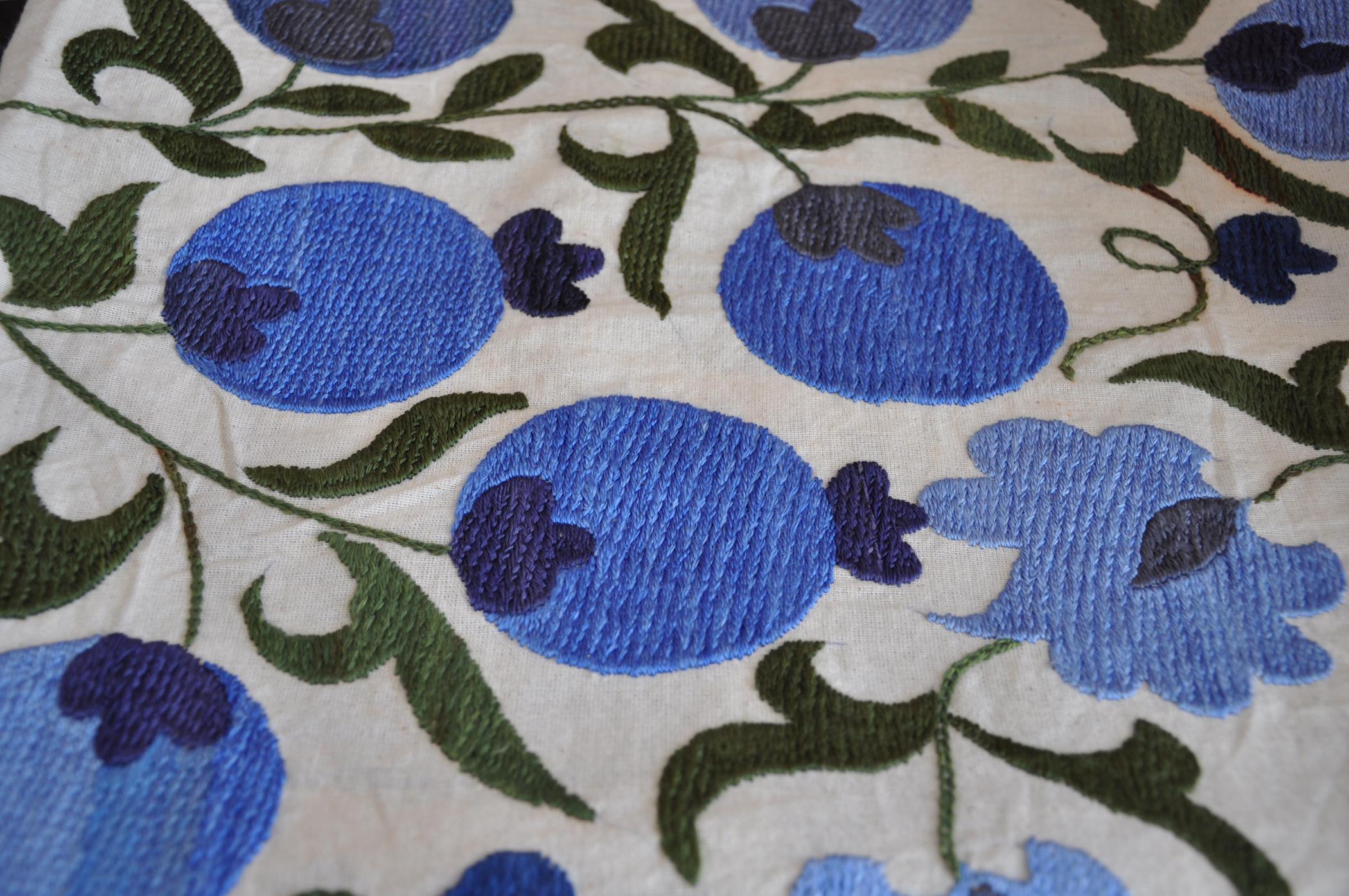 Blue Pomegranates Suzani Embroidered Quilt