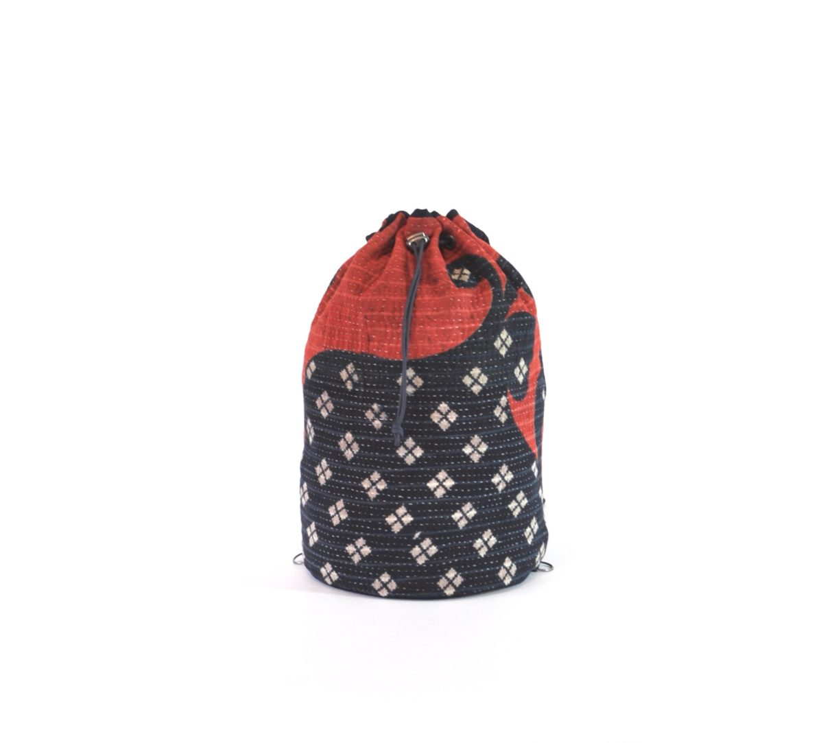YESNESS Red & Indigo w: White Diamond Motif 4