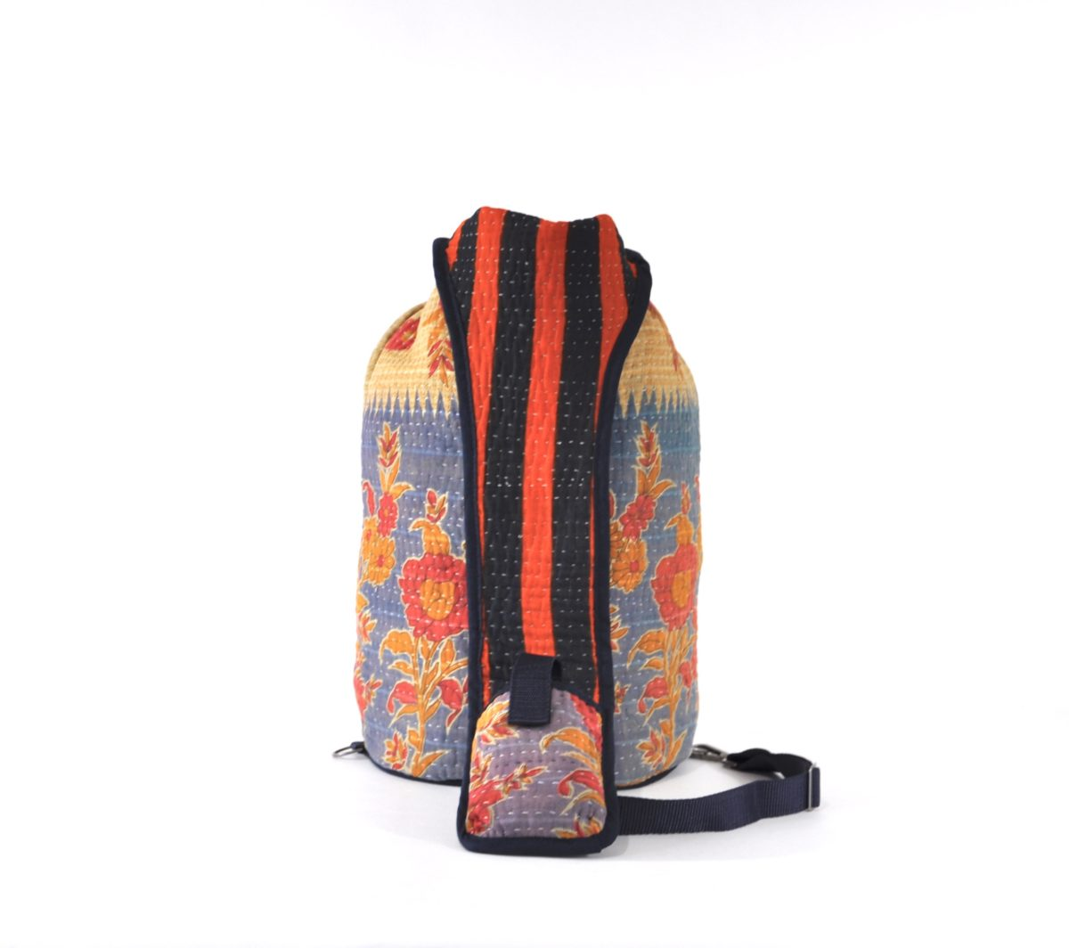 YESNESS Blue & Cream w:Red & Saffron Flowers 5