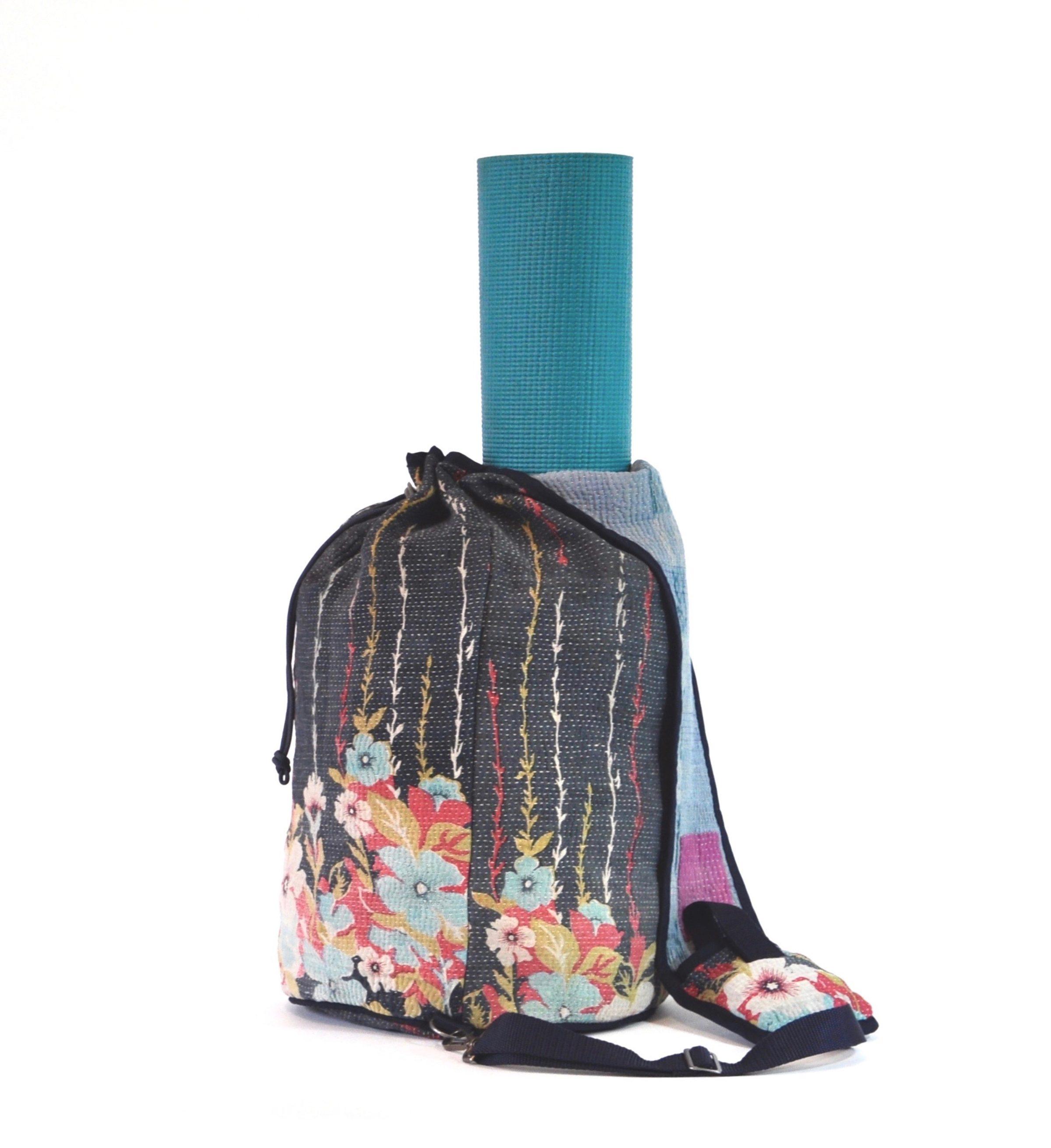 Grey-Blue Floral W/ Vertical Vines Crossbody Bag | Yesness
