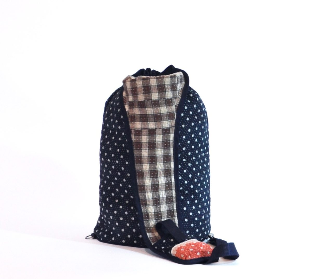 YESNESS Navy w: White Polka Dots & Red Band 5