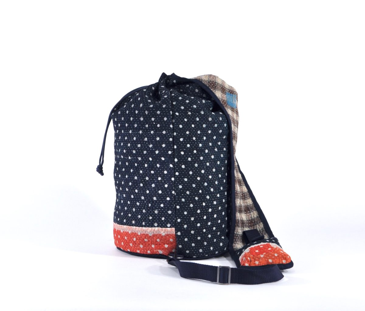 YESNESS Navy w: White Polka Dots & Red Band 6