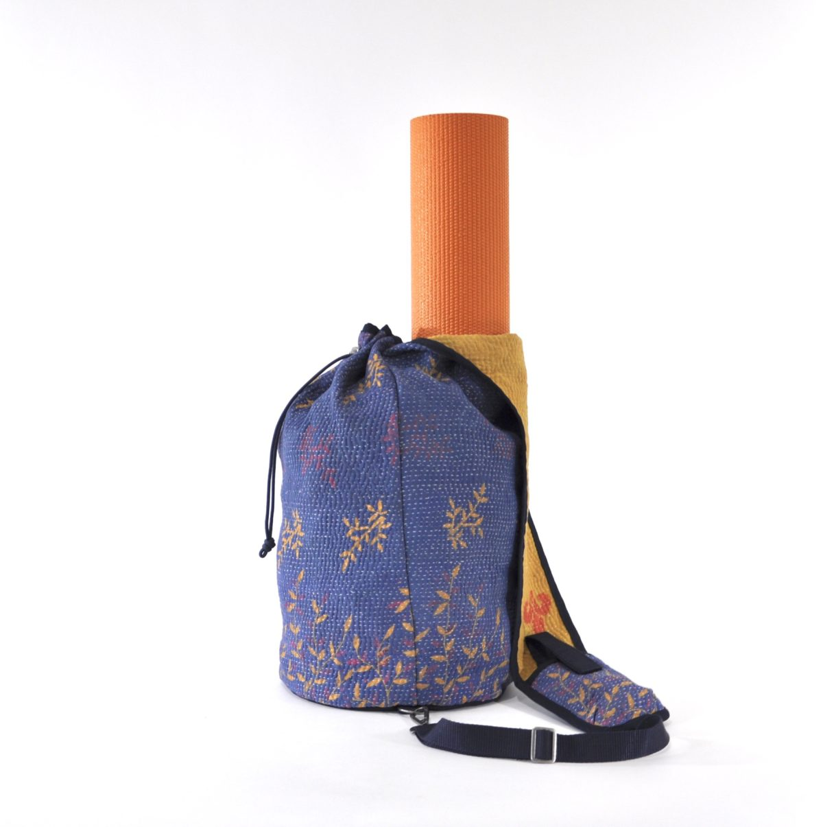 YESNESS Periwinkle Blue w: Yellow & Pink Leaves 3