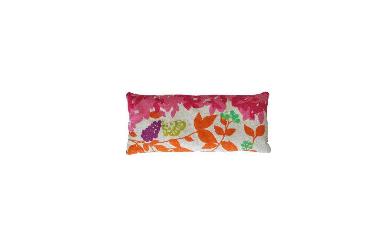 Beige with Butterfly and Pink and Orange Leaves eye pillowjpg