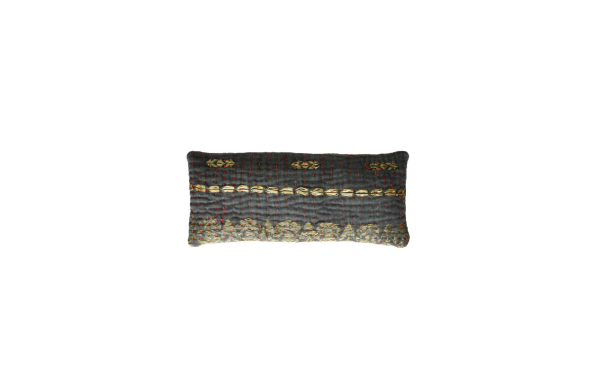 Black with Gold Embroidery and Red Stitching eyepillow