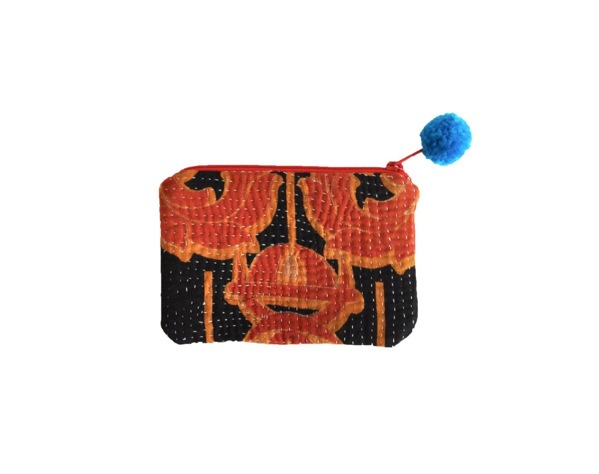 Black with Saffron and Orange small pouch