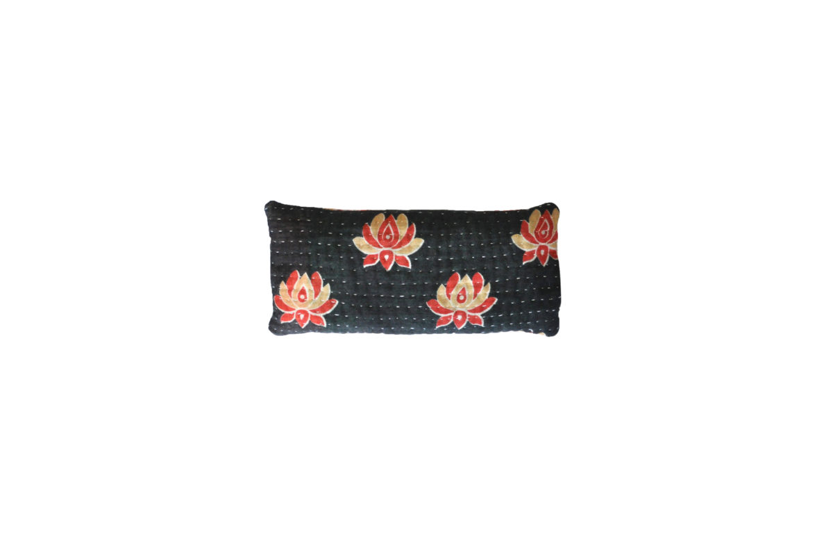 Black with cream and red flowers eyepillow