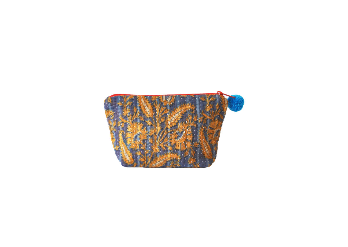 Blue with yellow vines and flowers large pouch