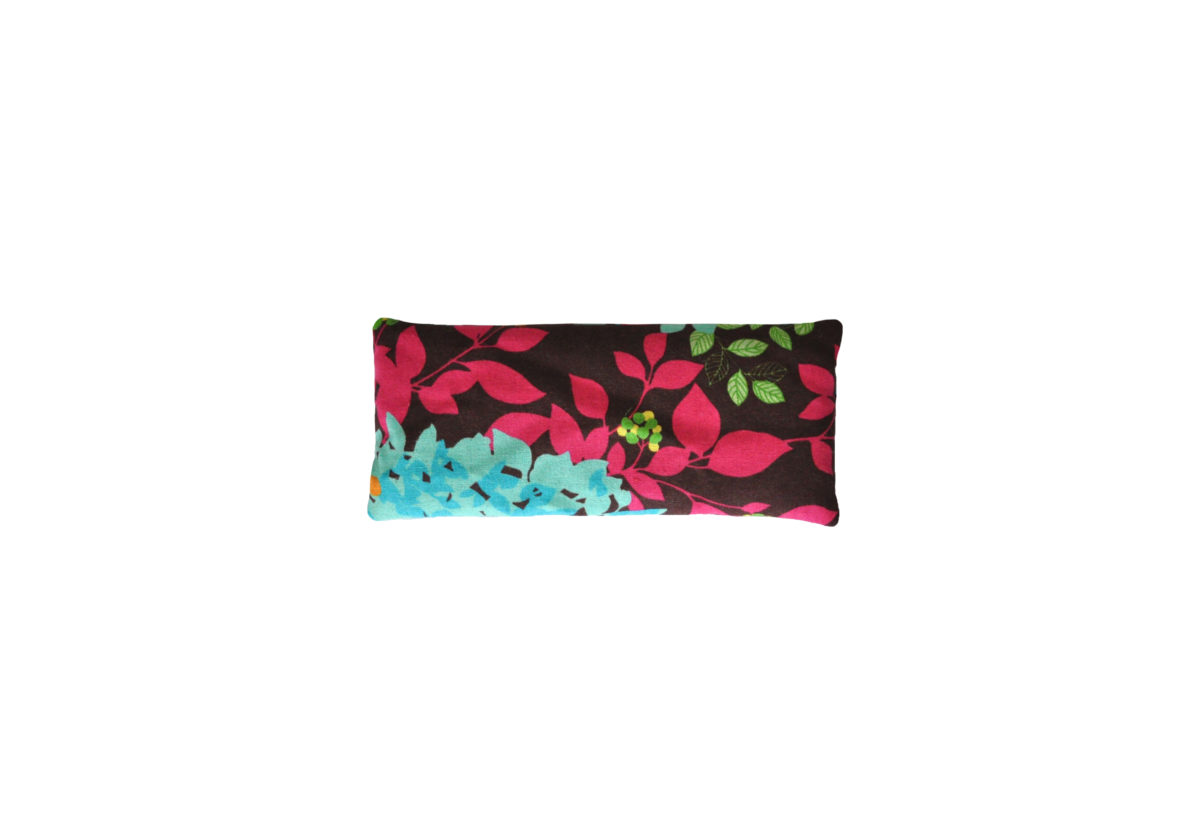Brown with Turquoise and Pink Leaves eyepillow