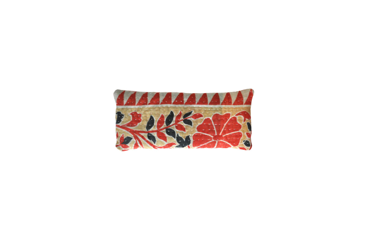 Cream with black and red florals eyepillow