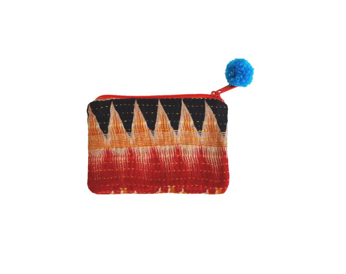 Indigo Red and saffron zipzag small pouch