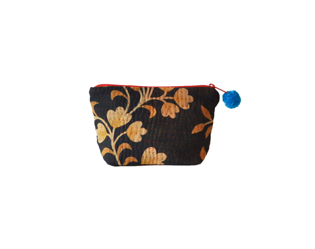 Indigo with Saffron vines and flowers large pouch