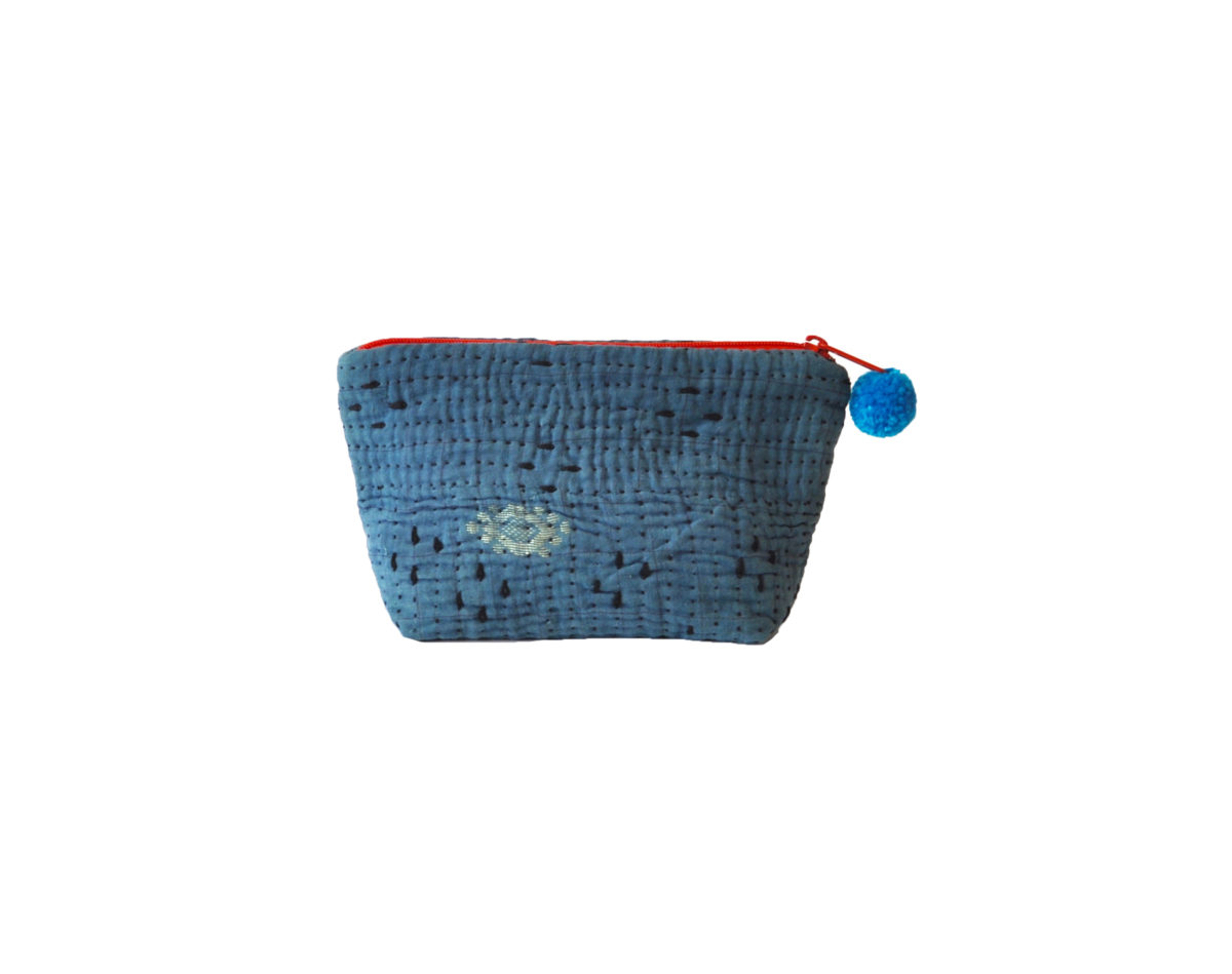 Indigo with black stitching and gold medallion large pouch