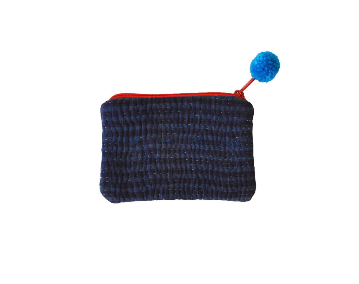 Indigo with stripes small pouch