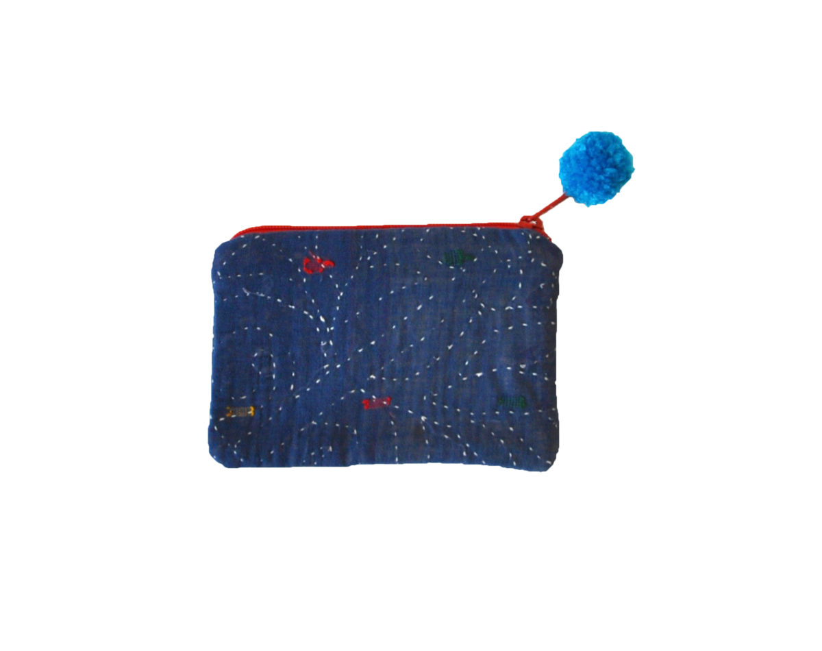 Indigo with white stitching and multi color embroidery small pouch