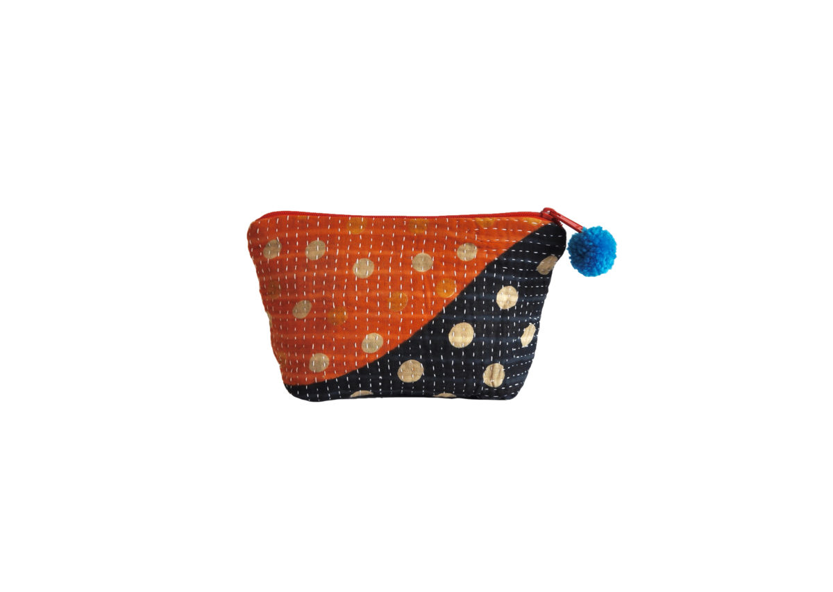 Navy and Orange with Polka dots large pouch