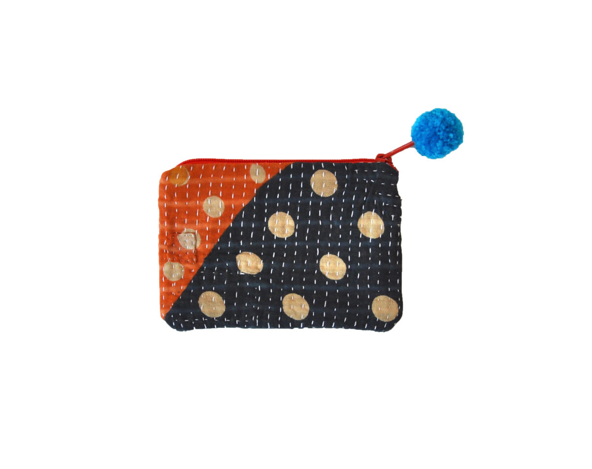 Navy and Orange with Polka dots small pouch