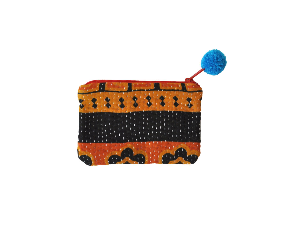 Orange and Saffron with Black band and flowers small pouch