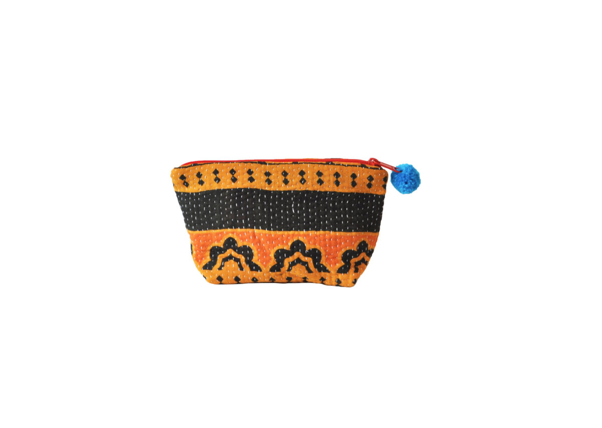 Orange and Saffron with black band and flowers large pouch