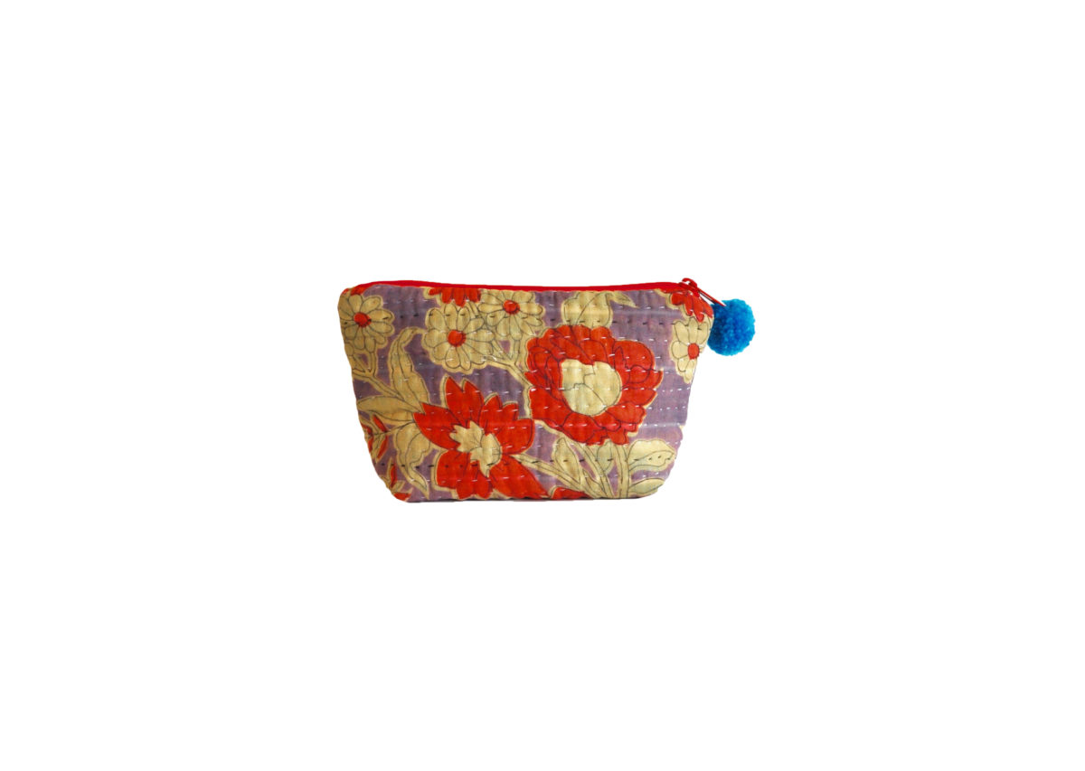 Purple with red and cream flowers large pouch