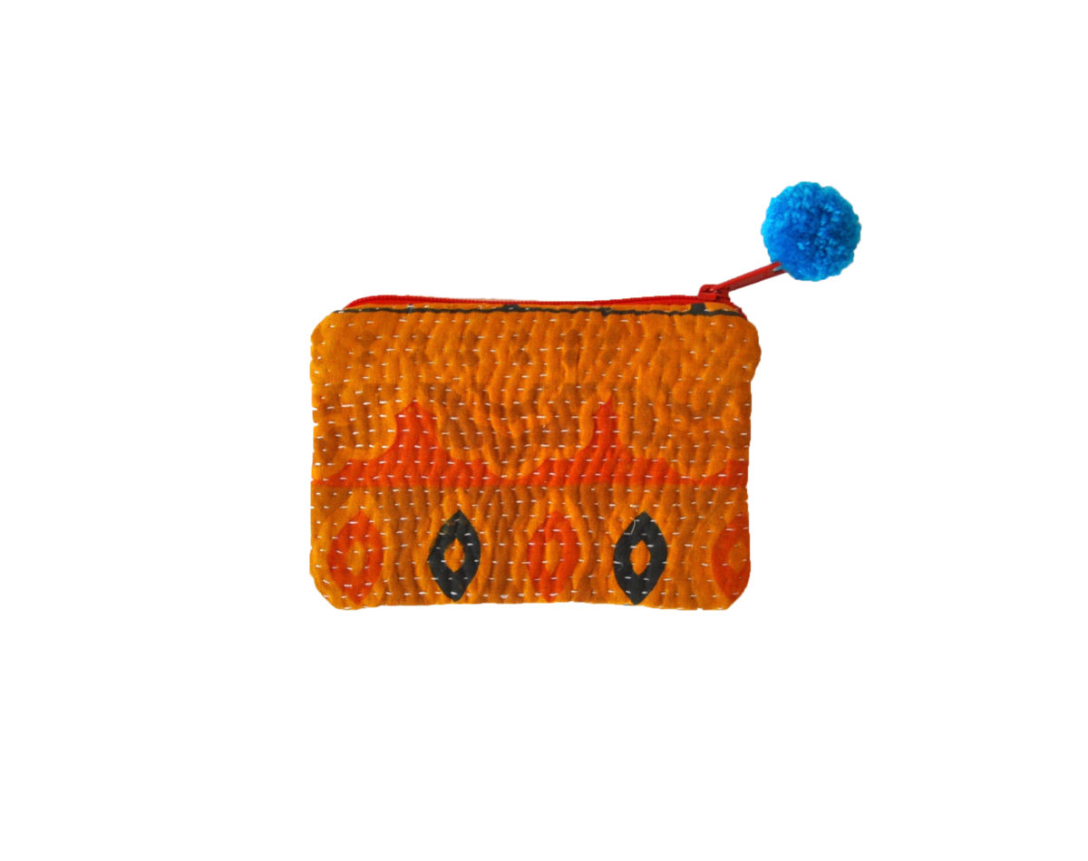 Saffron with Orange and Black small pouch