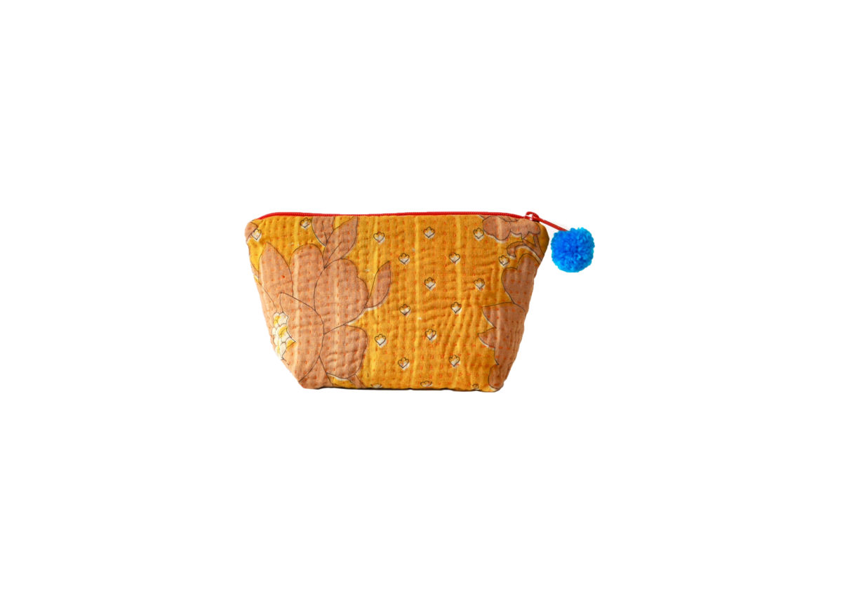 Yellow with peach flowers large pouch