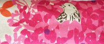 BEIGE W/ PINK LEAVES AND BIRD