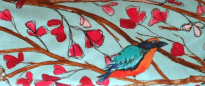 BIRD W/ BRANCHES & PINK PETALS