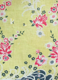 YELLOW W/ PINK FLOWERS & BLUE BORDER